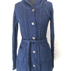 Blue Belted Long Sweater